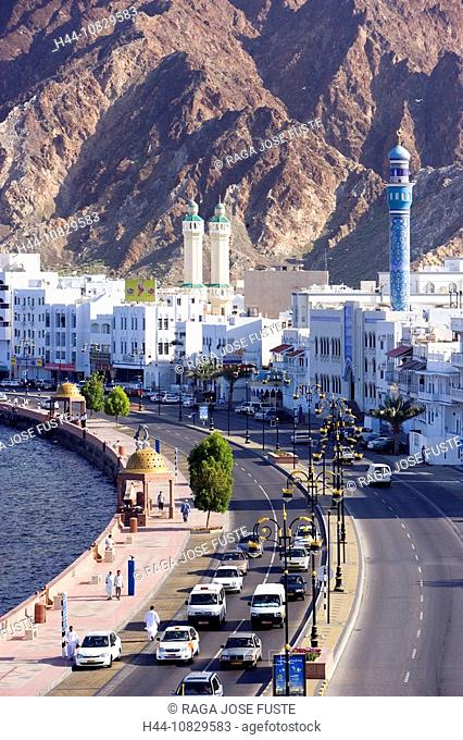 Oman, Arabia, East, Corniche, town, city, Old Town, Muttrah, courage yard, Maskat, Muscat, overview, coast, sea, mount
