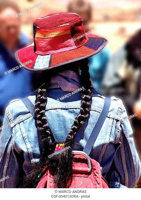 bolivia one person woman wearing a chola and a braid hair