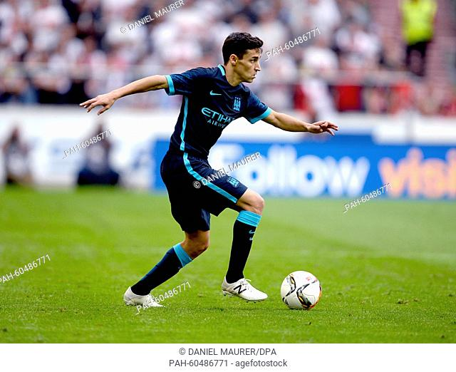 Manchester's Jesus Navas in action during a friendly between German Bundesliga soccer club VfB Stuttgart and England's Premier League club Manchester City at...