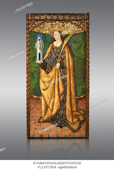 Gothic Aaltarpiece of Saint Barbara, 3rd quarter of the 15th century, tempera and gold leaf on for wood. National Museum of Catalan Art, Barcelona, Spain