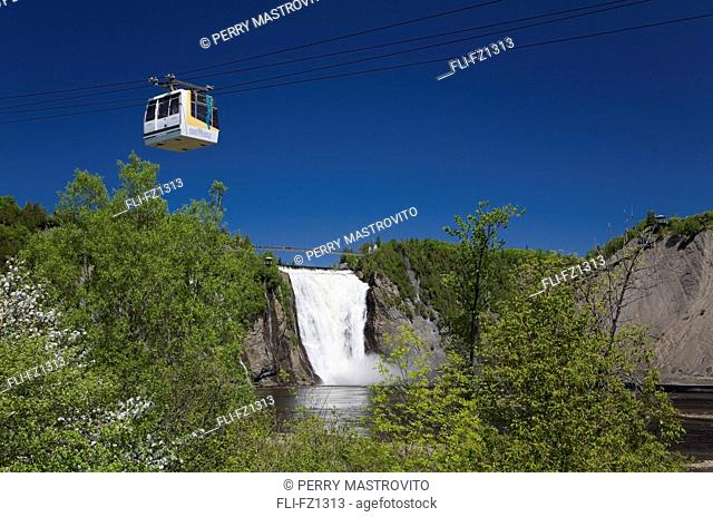 Cable car over Montmorency Falls in spring, Montmorency Falls Park, Beauport, Quebec, Canada
