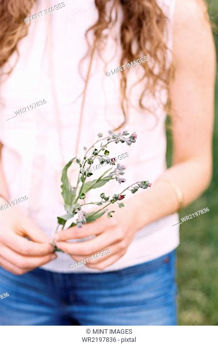 Close up of a woman holding a wild flower