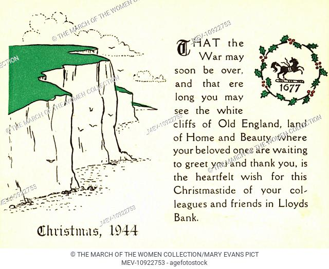 WW2 Christmas card, Lloyds Bank, showing the white cliffs of Dover
