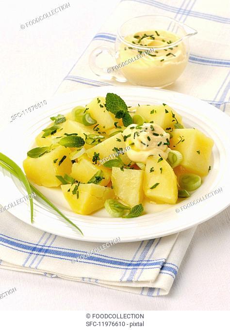 Potato salad with fresh herbs and homemade mayonnaise