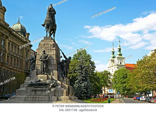 Monument commemorating the Battle of Grunwald, 15 July 1410 in Krakow, Poland, Europe