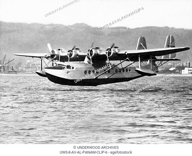 Oakland, California: April 23, 1935 The Pan Ameican Clipper flying boat as it landed in San Francisco Bay becoming the first aircraft to complete a round trip...