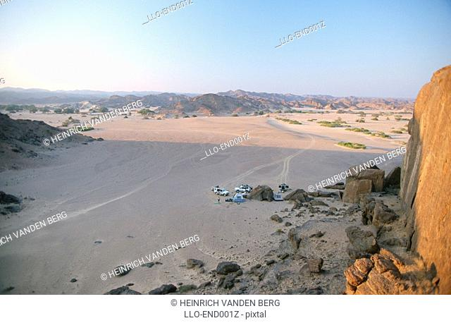 High Angle View of Campsite in the Desert  Kaokoveld, Namibia , Southern Africa