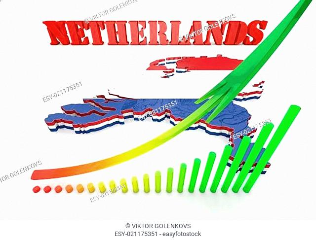 Map illustration of Netherlands with flag