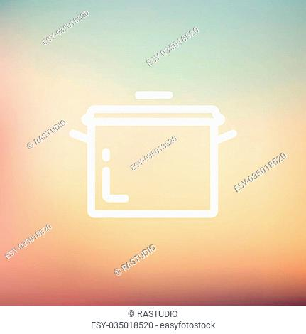 Casserole icon thin line for web and mobile, modern minimalistic flat design. Vector white icon on gradient mesh background