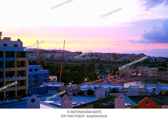 Sunset of Paceville, Saint Julians Bay in Malta