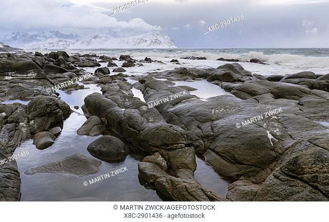 Beach near Vikten on the island Flakstadoya. The Lofoten Islands in northern Norway during winter. Europe, Scandinavia, Norway, February