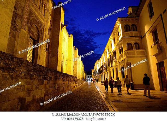 Ancient and side of the Cathedral of Cordoba, Andalucía, Spain Town