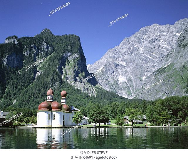 Alps, Bartholoma, Bavaria, Berchtesgadener land, Chapel, Germany, Europe, Holiday, Konigssee, Lake, Landmark, Mountains, Tourism