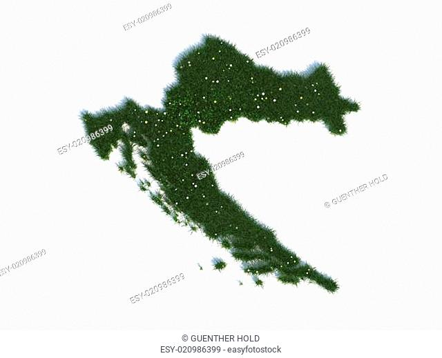 Map of Croatia Series Countries out of realistic Grass