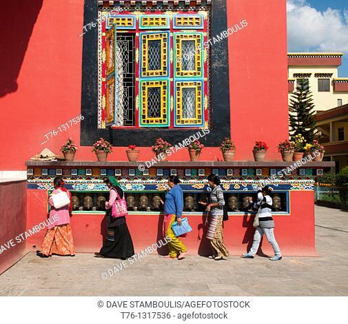 prayer wheels at the Sheldrup Gompa at Bodhnath in Kathmandu, Nepal