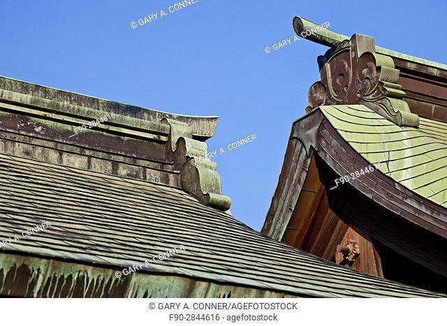 Roof decoration at Hakozaki Shrine in Fukuoka, Kyushu, Japan