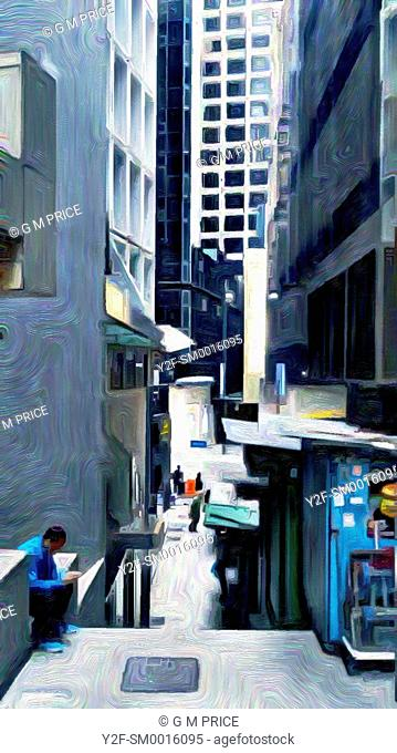 paintbrush filter of downtown Hong Kong lane high rise buildings