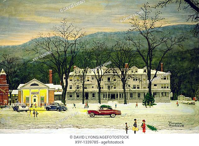 Detail of view of the town of Stockbridge by artist Norman Rockwell in the Stockbridge Museum, Stockbridge, Massachusetts, USA