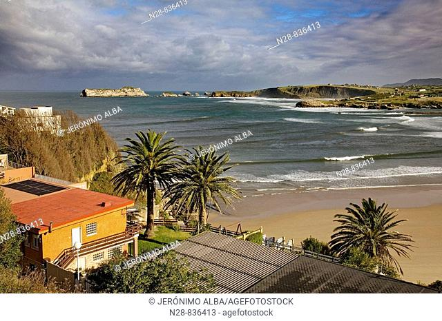 La Concha beach and Bay of Biscay, Suances, Cantabria, Spain