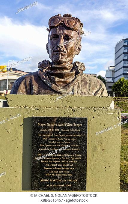 Statue commemorating Gustavo Tapper near the main port in Ushuaia, Argentina