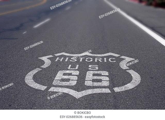 Historic Route 66 Sign on Asphalt road