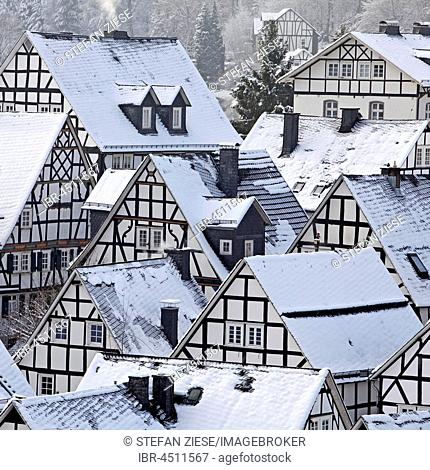 Alter Flecken, old town in winter, Freudenberg, Siegerland, North Rhine-Westphalia, Germany