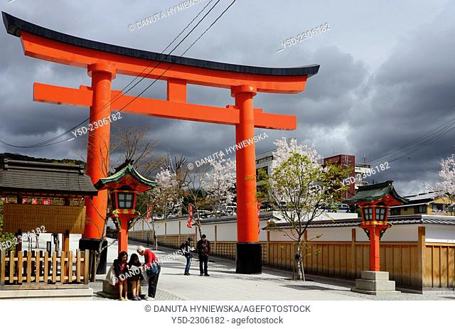Urban landscape of Fushimi-ku ward of Kyoto, Great Torii gate leads directly to Fushimi Inari-taisha Shrine, Kansai Region, Japan