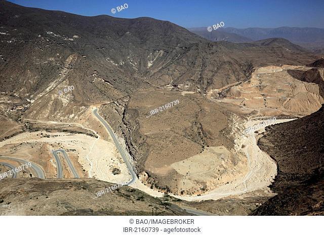 Landscape of the southern Dhofar, Jabal al-Qamar, Oman, Arabian Peninsula, Middle East, Asia