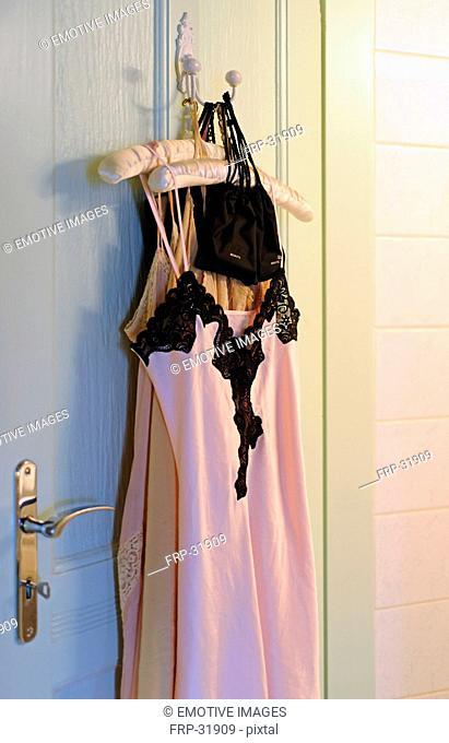 Negligee hanging on coat hanger