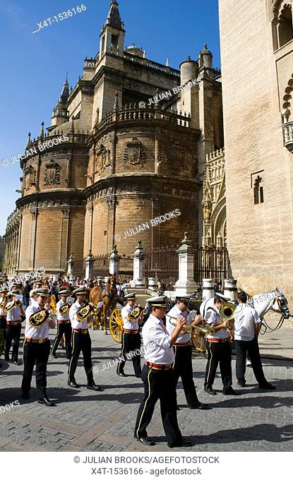 Musicians taking part in a religious procession, Seville, Andalusia, Spain
