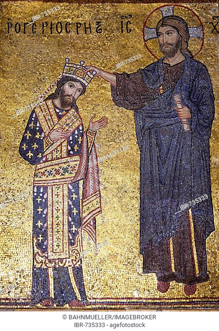 Coronation of the king of the Normans Roger II by Jesus Christ La Martorana Santa Maria dell' Ammiraglio Palermo Sicily Italy