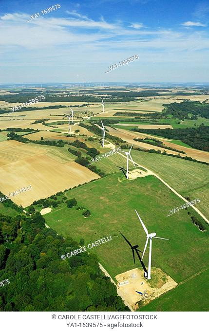 Aerial view of a wind turbines in french Lorraine region - France