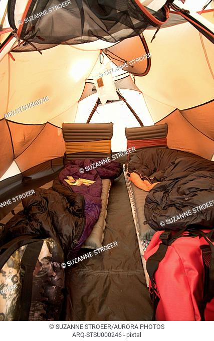 Interior of tent with sleeping bags, Arusha, Tanzania