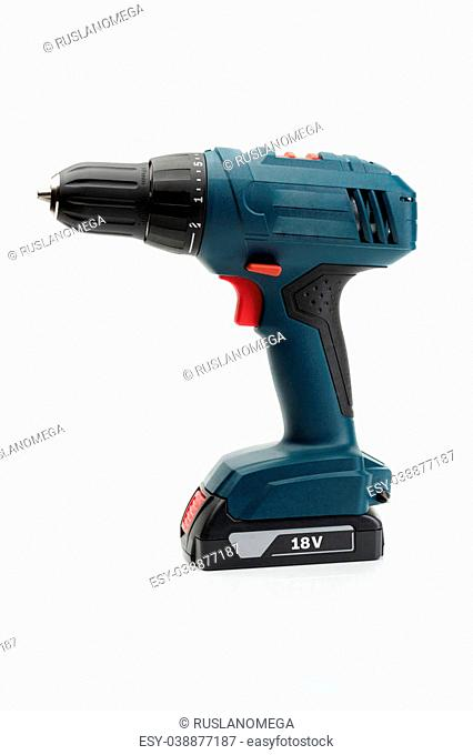 Electric screwdriver 18 Volt. Isolate on white background