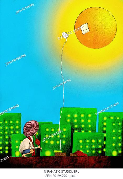 Conceptual illustration of the use of solar energy