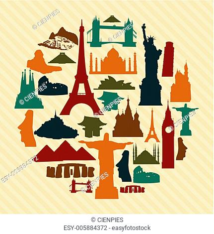 World landmark silhouettes set