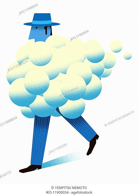 Bubble cloud covering businessman