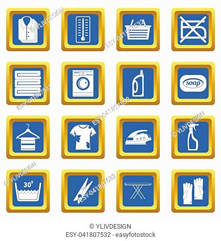 Laundry icons set in blue color isolated illustration for web and any design