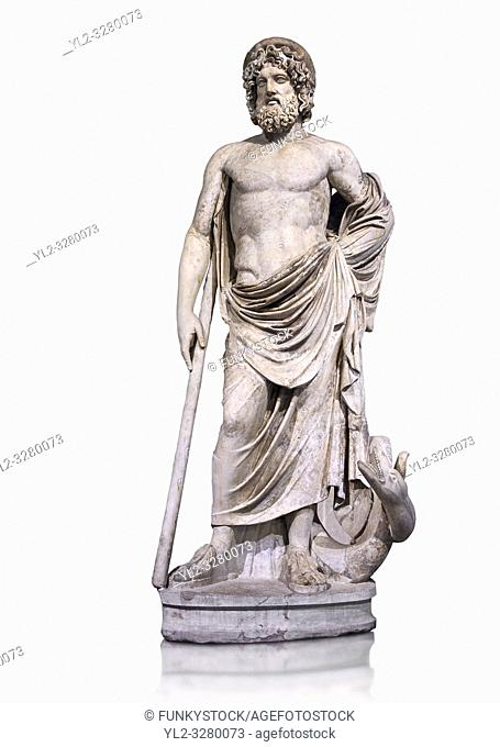 Statue of Esculape or Asclepius - a second century AD Roman sculpture. Asclepius represents the healing aspect of the medical arts