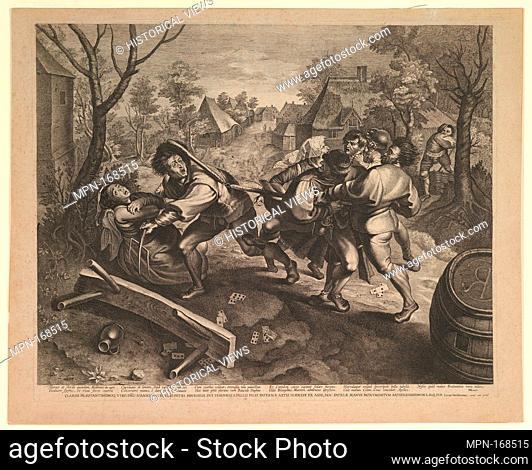 Peasants Fighting over a Game of Cards. Artist: Lucas Vorsterman I (Flemish, Zaltbommel 1595-1675 Antwerp); Artist: After Pieter Bruegel the Elder...