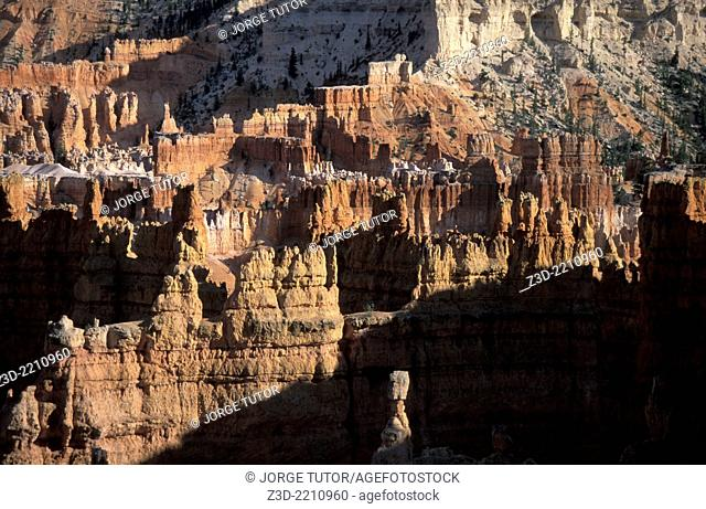 Bryce Canyon National Park. Utah. Bryce is distinctive due to geological structures called hoodoos, formed by frost weathering and stream erosion of the river...