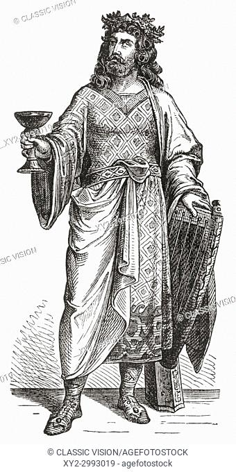 Alboin, c. 530 - 572. King of the Lombards from about 560 until 572. From Ward and Lock's Illustrated History of the World, published c. 1882