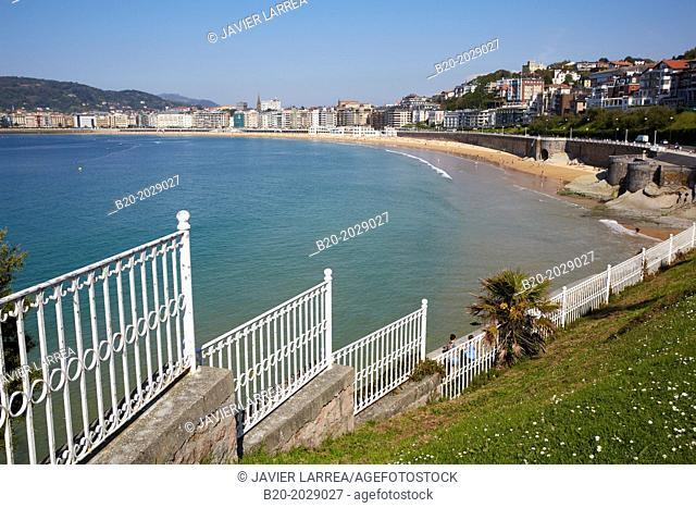La Concha bay. Donostia. San Sebastian, Gipuzkoa. Basque Country. Spain