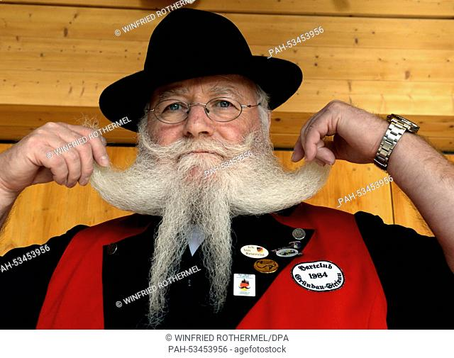 Bernd Wiegand poses before his appearance in the European Beard Championship in Schluchsee, Germany, 08 November 2014. Photo:WINIFRIEDROTHERMEL/dpa |