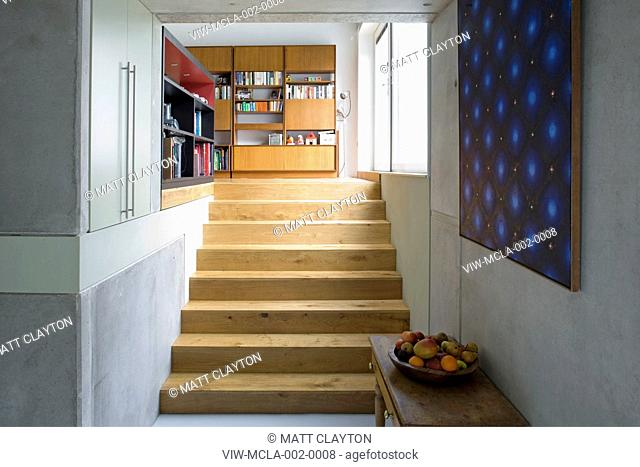 Zog House, Groves Natcheva Architects, London, 2010, Stairs view from kitchen, GROVES NATCHEVA ARCIHITECTS, UNITED KINGDOM, Architect