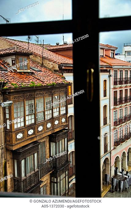 Houses in Plaza de España Spain Square  Aviles  Asturias  Spain