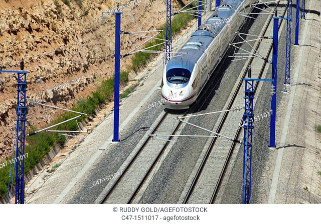 Spain, Catalonia, Lleida province, High Speed train, AVE Series 103 taken at Vinaixa viaduct  The Vinaixa viaduct if 1044 meters long