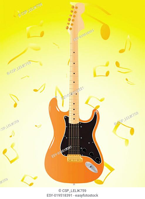 Vector abstract background with patterns notes and a guitar