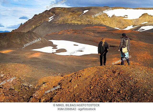 Peope in Askja caldera route. Central highlands. Iceland, Europe