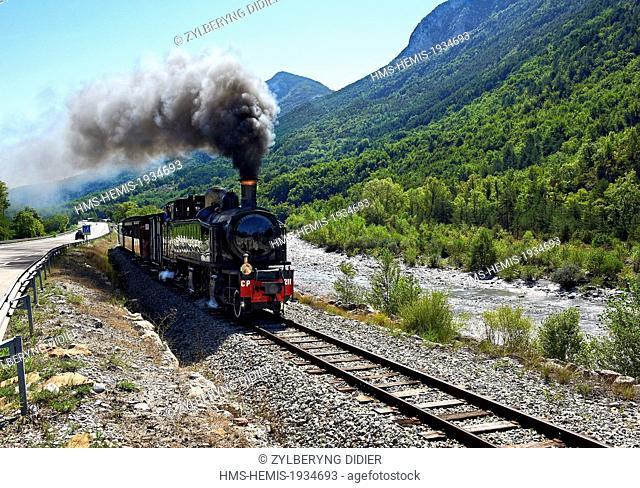 France, Alpes Maritimes, Puget Theniers, le Train des Pignes, along the Var river